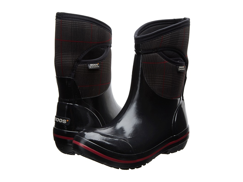 Bogs - Plimsoll Prince of Wales Mid (Black) Women's Pull-on Boots