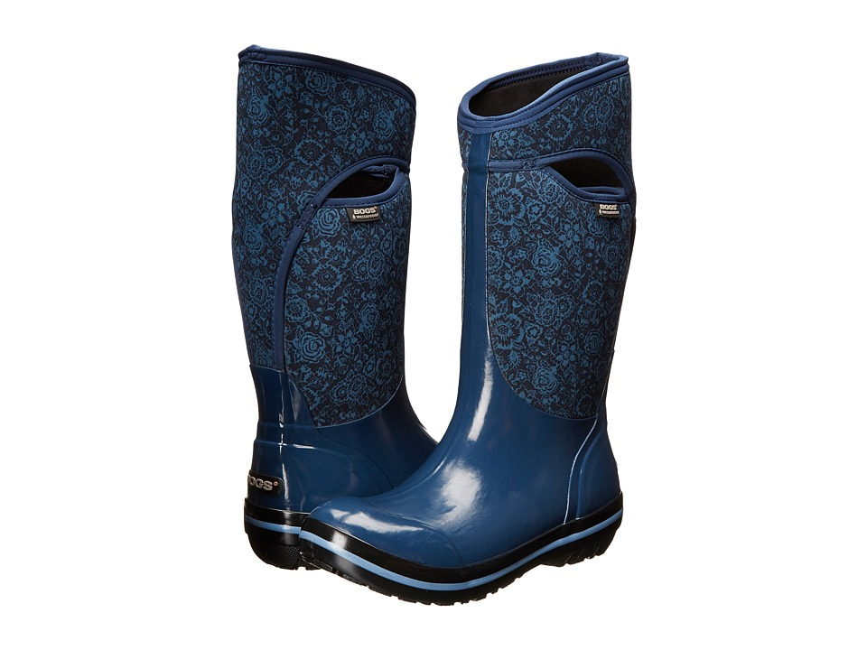 Bogs - Plimsoll Quilted Floral Tall (Indigo) Women's Rain Boots