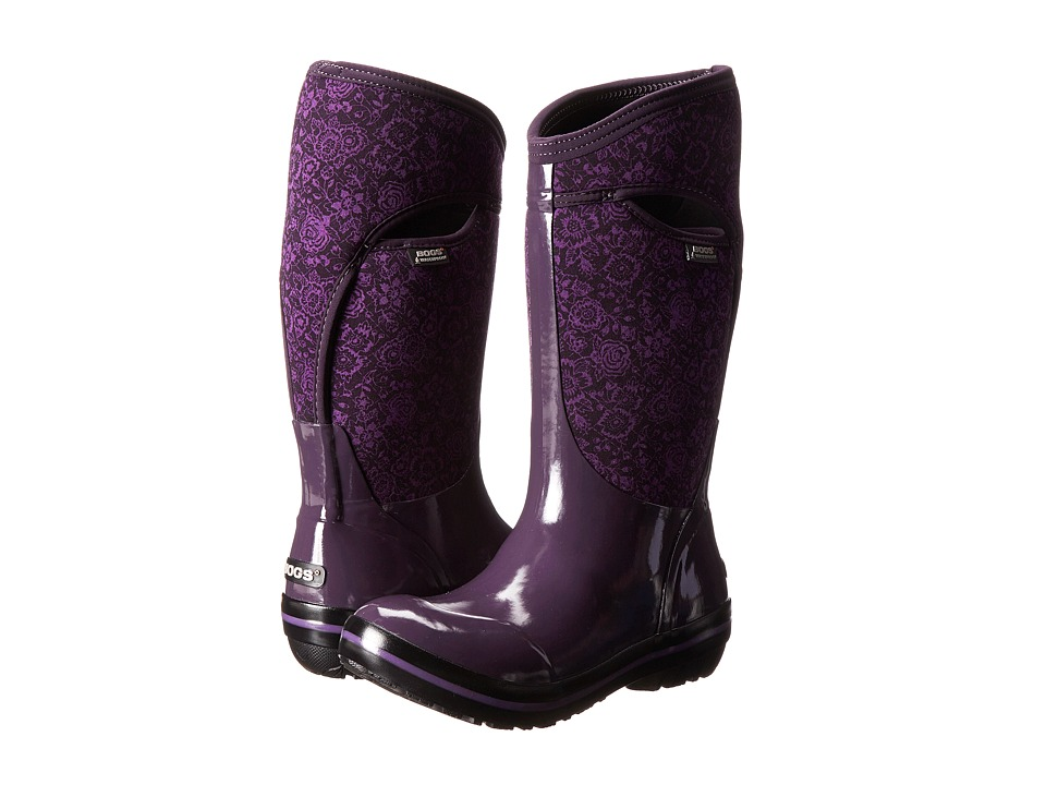 Bogs - Plimsoll Quilted Floral Tall (Plum) Women's Rain Boots