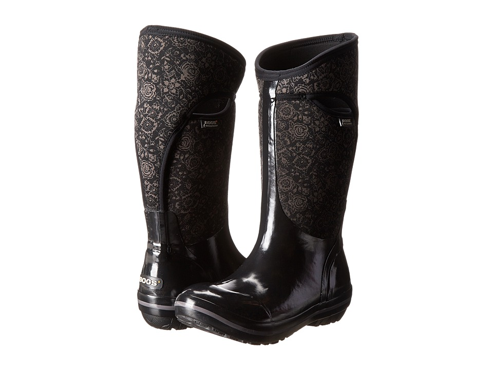 Bogs - Plimsoll Quilted Floral Tall (Black) Women's Rain Boots