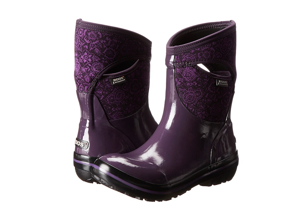 Bogs - Plimsoll Quilted Floral Mid (Plum) Women's Work Boots