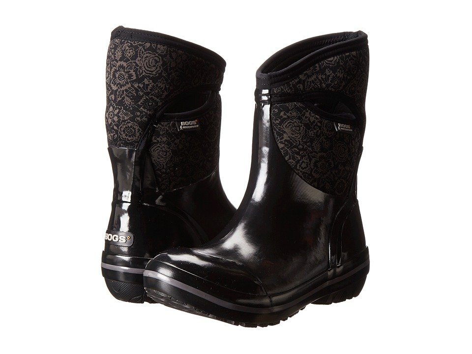 Bogs - Plimsoll Quilted Floral Mid (Black) Women's Work Boots
