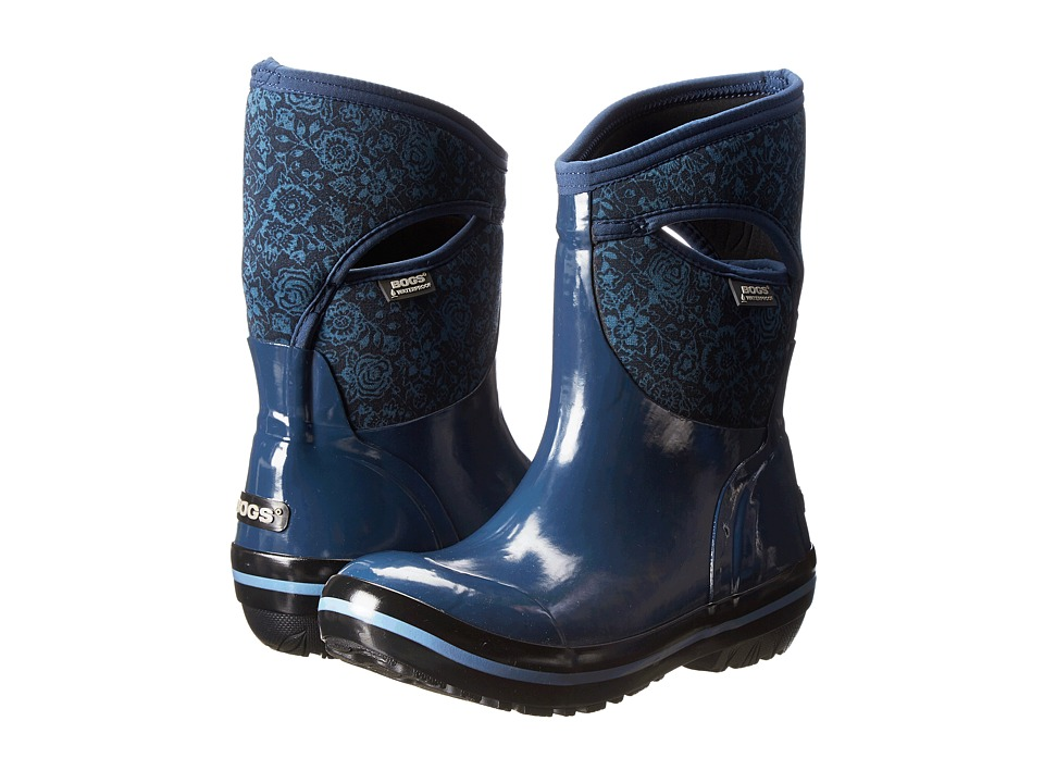 Bogs - Plimsoll Quilted Floral Mid (Indigo) Women