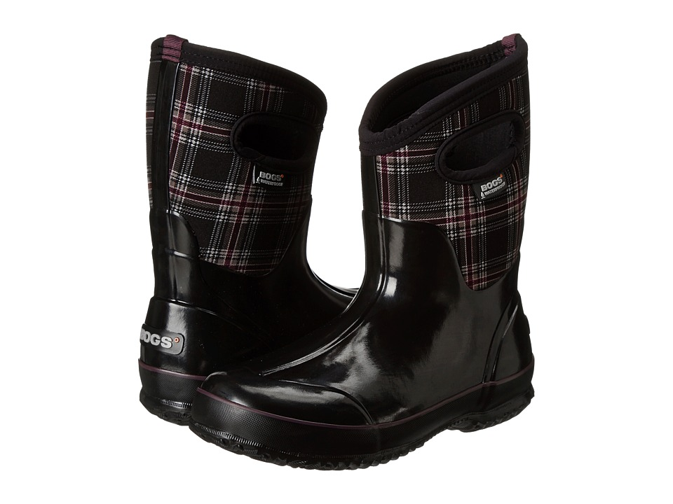Bogs - Classic Winter Plaid Mid (Black Multi) Women's Pull-on Boots