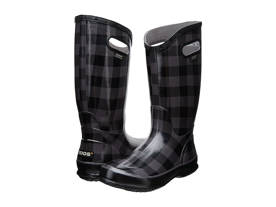 Bogs Rainboot Buffalo Plaid (Black/Gray) Women