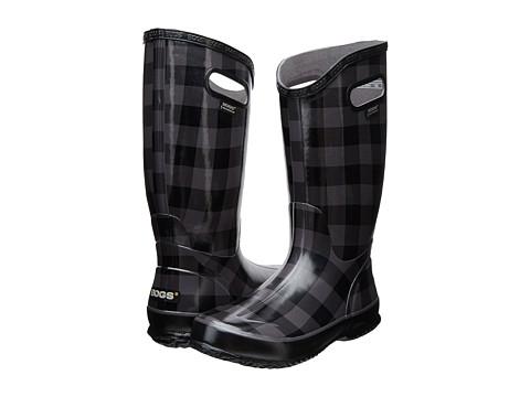 Bogs - Rainboot Buffalo Plaid (Black/Gray) Women