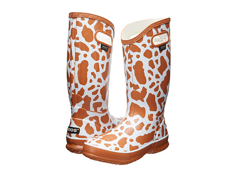Bogs - Rainboot Animal Prints: Cow (White Multi) Women