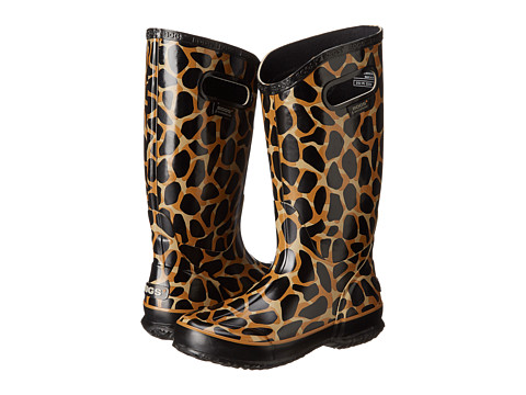 Bogs - Rainboot Animal Prints: Giraffe (Black/Brown) Women