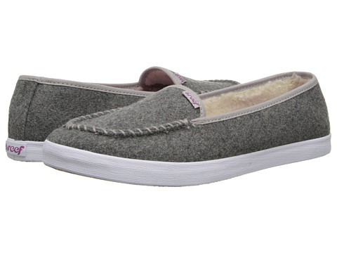 Reef - Salty Island Fur (Dark Grey) Women's Slip on Shoes