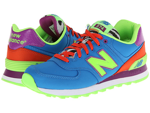 New Balance Classics - WL574 - Pop Safari (Blue/Orange) Women's Lace up casual Shoes