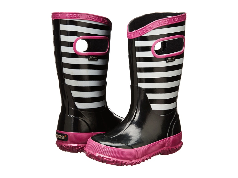 Bogs Kids - Rainboot Stripe (Toddler/Little Kid/Big Kid) (Black Multi) Girls Shoes