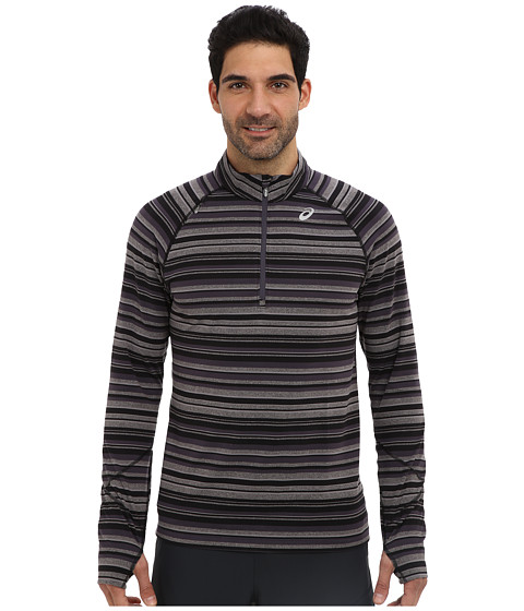 ASICS - Thermostripe 1/2 Zip (Black/Steel Stripe) Men's Workout