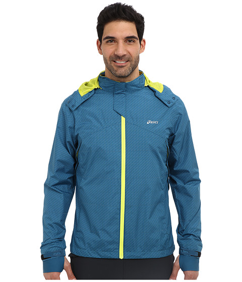 ASICS - Storm Shelter Jacket (Deep Sea/Electric Lime) Men's Jacket