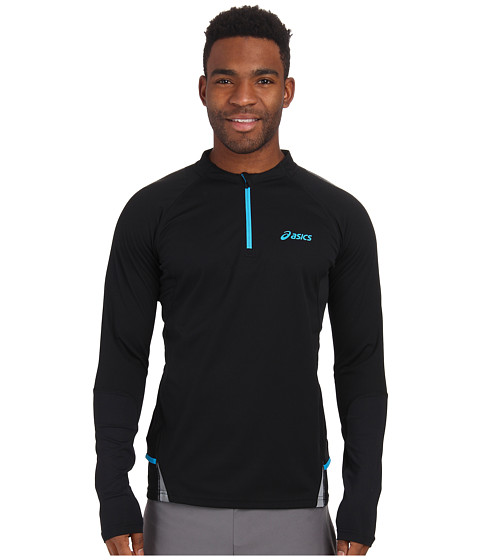ASICS - Fuji Long Sleeve 1/2 Zip (Performance Black/Electro Lime) Men's Workout