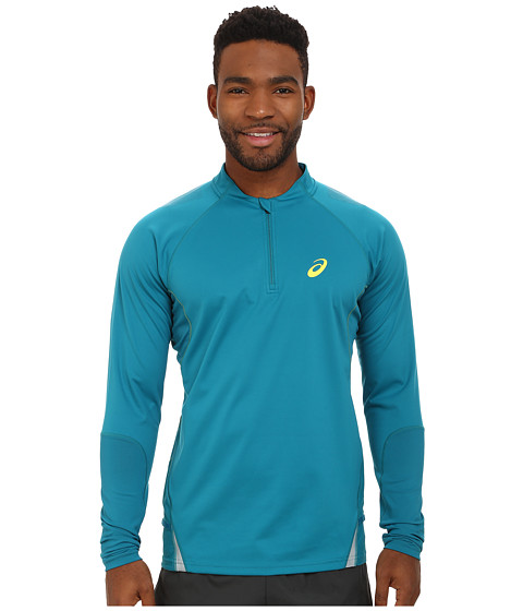 ASICS - Fujitrail Long Sleeve 1/2 Zip (Cool Teal) Men's Clothing