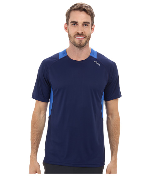 ASICS - Favorite Short Sleeve (True Navy/New Blue) Men's Workout