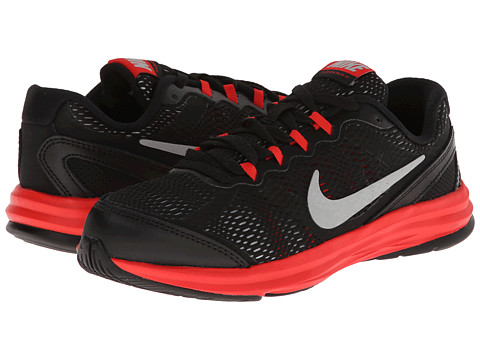 Nike Kids - Fusion Run 3 (Little Kid) (Black/Challenge Red/Wolf Grey/Metallic Silver) Boys Shoes
