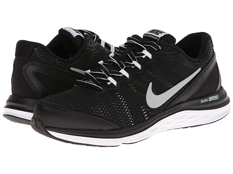 Nike Kids - Dual Fusion Run 3 (Big Kid) (Black/White/Cool Grey/Metallic Silver) Boys Shoes