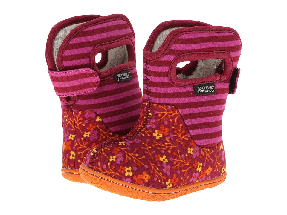Bogs Kids - Baby Classic Flower Stripe (Toddler) (Cranberry) Girls Shoes