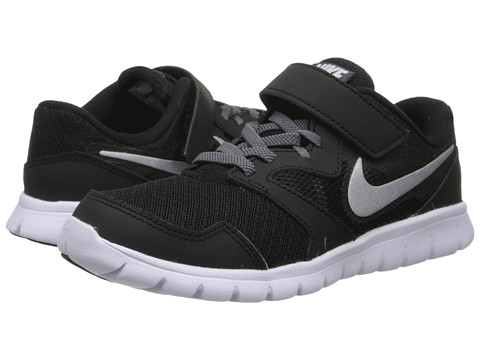 Nike Kids - Flex Experience 3 (Little Kid) (Black/Dark Grey/White/Metallic Silver) Boys Shoes