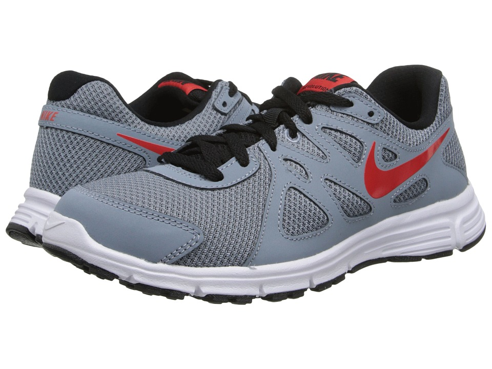 Nike Kids - Revolution 2 (Big Kid) (Magnet Grey/Black/White/Challenge Red) Kids Shoes