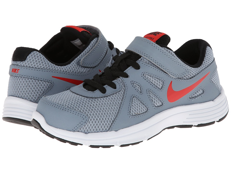 Nike Kids - Revolution 2 (Little Kid) (Magnet Grey/Black/White/Challenge Red) Boys Shoes
