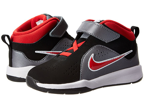 Nike Kids - Team Hustle D 6 (Infant/Toddler) (Black/Metallic Cool Grey/University Red) Boys Shoes