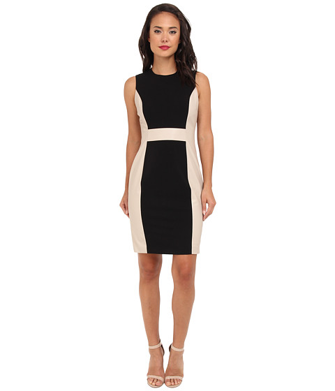 Calvin Klein - Lux/Pleather Sheath Dress (Black/Khaki) Women