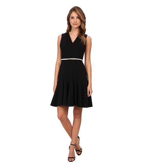 Calvin Klein - Belted Lux Fit And Flare Dress (Black) Women