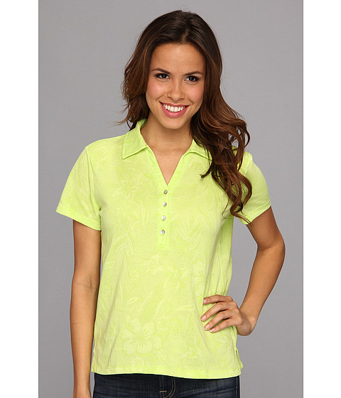 Caribbean Joe - S/S Button Y-Neck Polo (Clear Lime) Women's Short Sleeve Knit