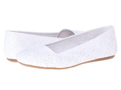 Shop Fergalicious online and buy Fergalicious Mosley White Shoes - Fergalicious - Mosley (White) - Footwear: Make the most of your weekend style and step out in crocheted flats that speak to your casual-cool sensibility. ; Slip-on simplicity. ; Cotton blend crochet fabric upper. ; Insole is comprised of latex-padded sock that is wrapped with a lightweight cotton-blend canvas. ; Intricately crocheted vamp with rows of knit detail. ; Lightweight cotton-blend canvas lining creates a gently padded footbed. ; Classic round toe. ; Fergalicious crown decoration at the rear inner quarter. ; Flexible man-made rubber outsole with a fabric insert. ; Imported. Measurements: ; Heel Height: 1 4 in ; Weight: 6 oz ; Product measurements were taken using size 8, width M. Please note that measurements may vary by size.