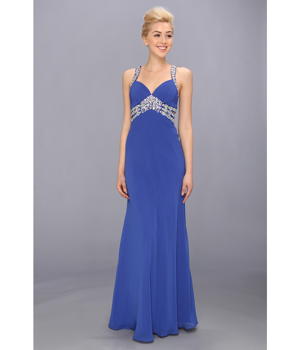 Faviana - V-Neck Chiffon Cutout Gown 7118 (Royal) Women's Dress
