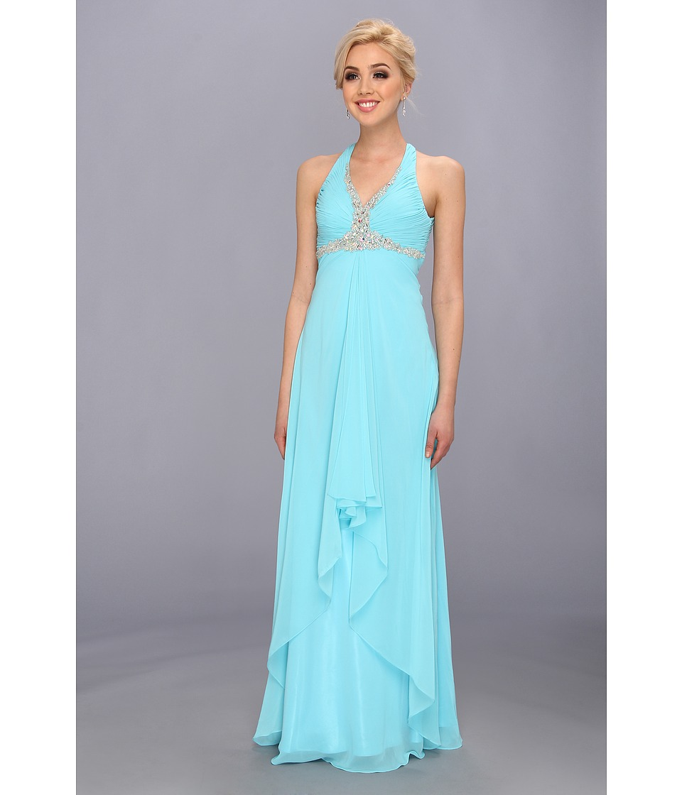 Faviana - Beaded Cross Back Chiffon Dress 6916 (Blue) Women's Dress