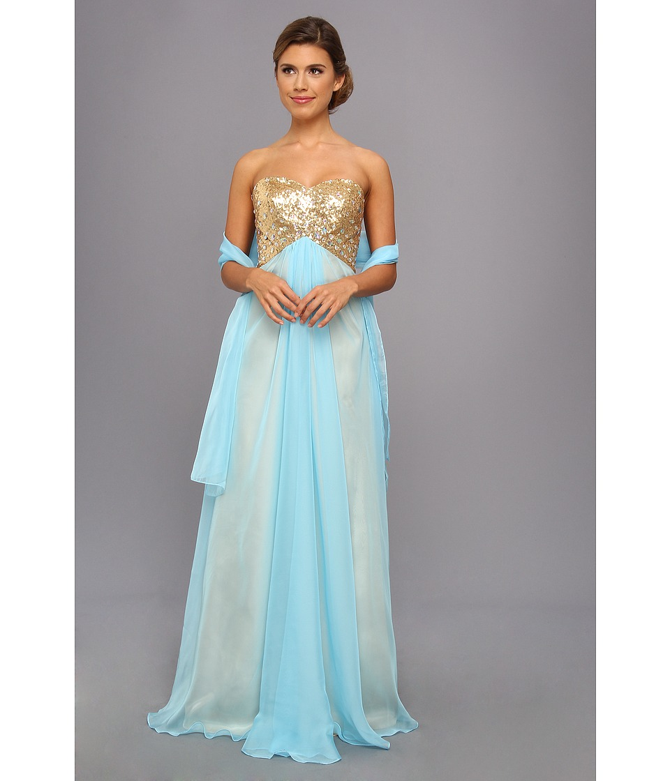 Faviana - Sequined Bodice Strapless Sweetheart Gown 7411 (Gold/Ice Blue) Women's Dress