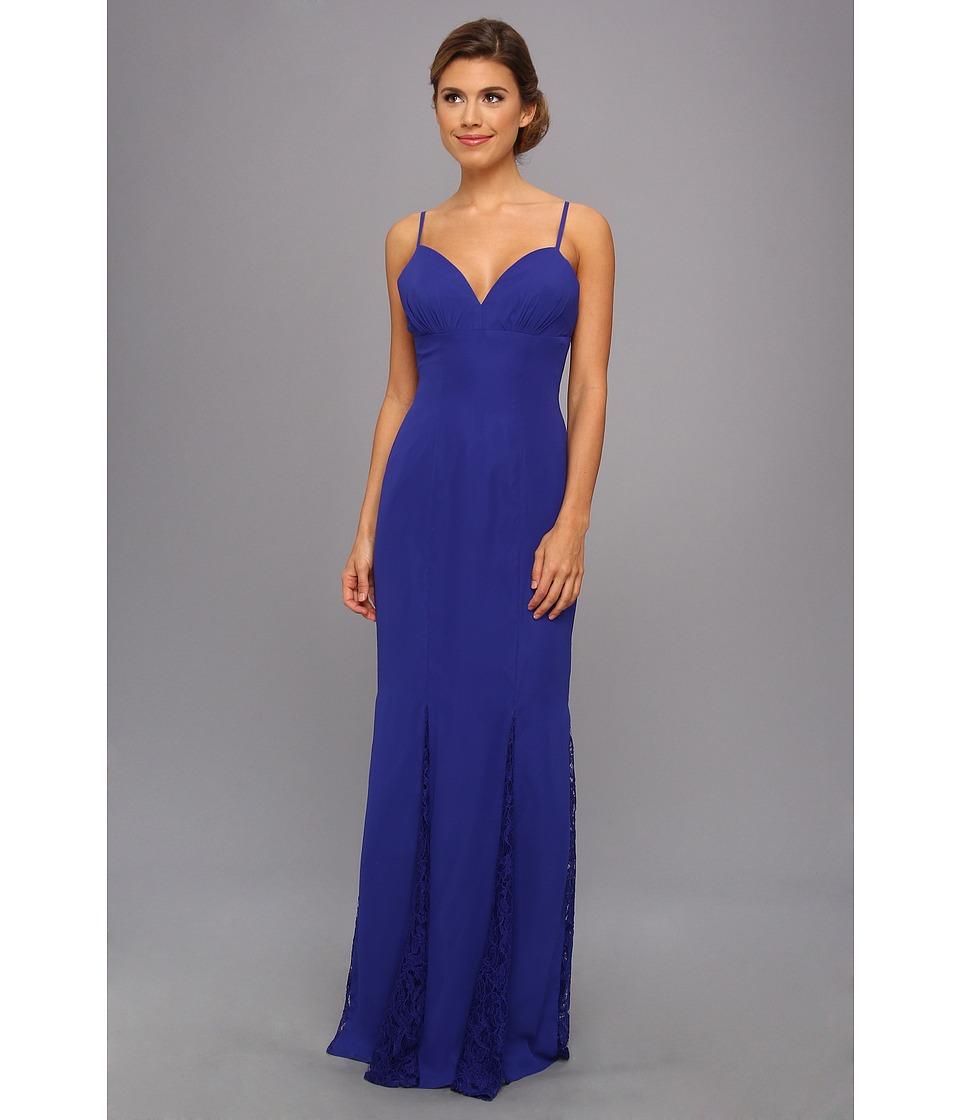 Faviana - Lace Godet Chiffon Gown 7362 (Royal) Women