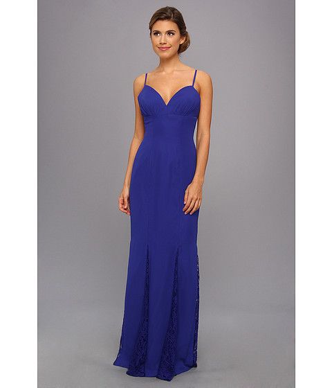 Faviana - Lace Godet Chiffon Gown 7362 (Royal) Women's Dress