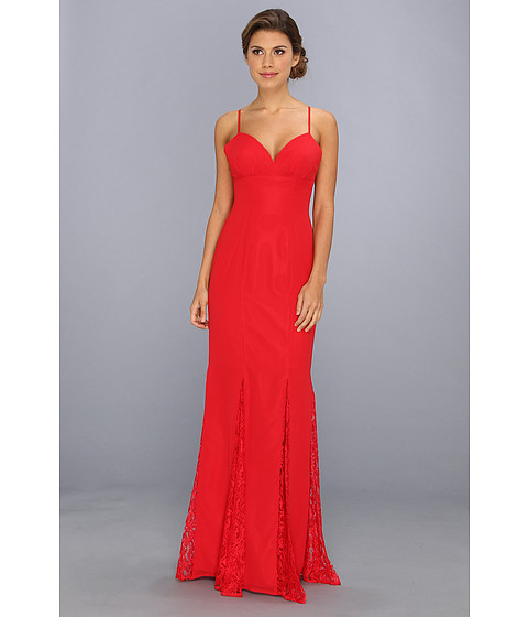 Faviana - Lace Godet Chiffon Gown 7362 (Red) Women's Dress