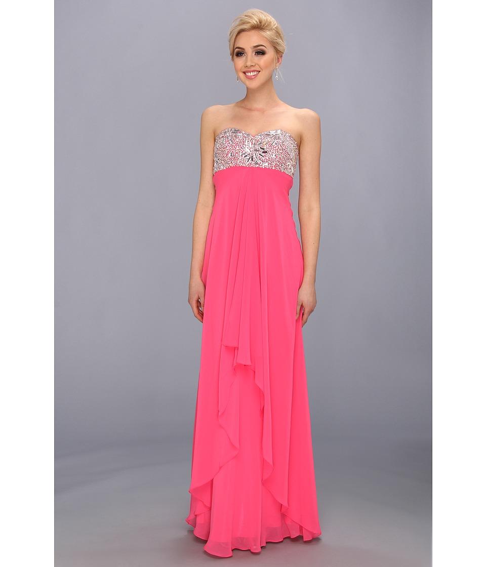 Faviana Strapless Sweetheart Gown w/ Bust Detail 7335 Womens Dress (Pink)