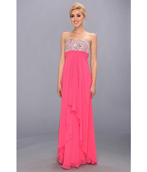 Faviana - Strapless Sweetheart Gown w/ Bust Detail 7335 (Hot Pink) Women