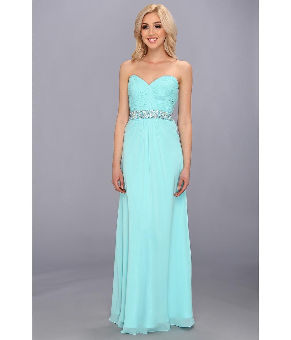 Faviana Strapless Chiffon Gown w/ Beaded Detail 7334 Womens Dress (Green)