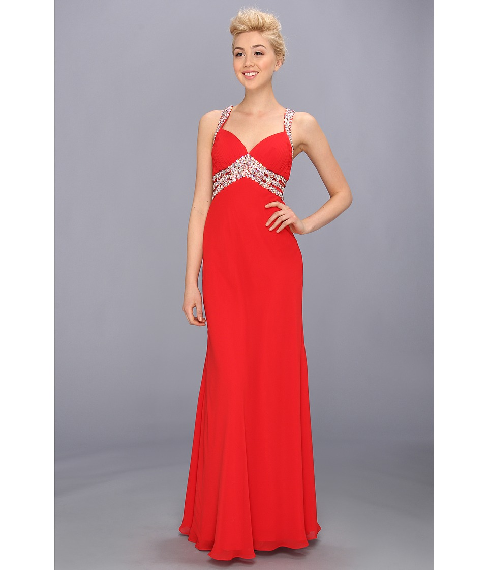Faviana - V-Neck Chiffon Cutout Gown 7118 (Red) Women's Dress