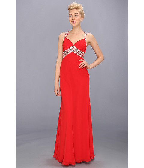 Faviana - V-Neck Chiffon Cutout Gown 7118 (Red) Women