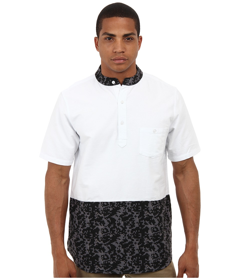 Crooks & Castles - Digi Camo Woven S/S Polo Shirt (White/Black) Men's Short Sleeve Pullover