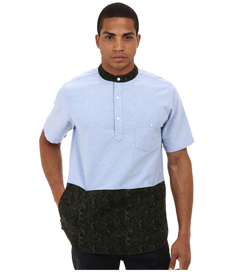 Crooks & Castles - Digi Camo Woven S/S Polo Shirt (Light Blue/Military) Men