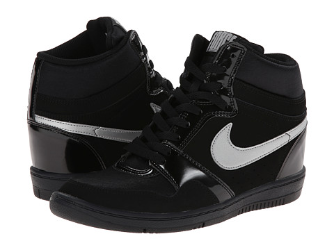 Nike - Force Sky High Sneaker Wedge (Black/Anthracite/Metallic Silver) Women's Shoes