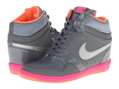 Nike - Force Sky High Sneaker Wedge (Cool Grey/Hyper Pink/Bright Mango/Metallic Silver) Women's Shoes