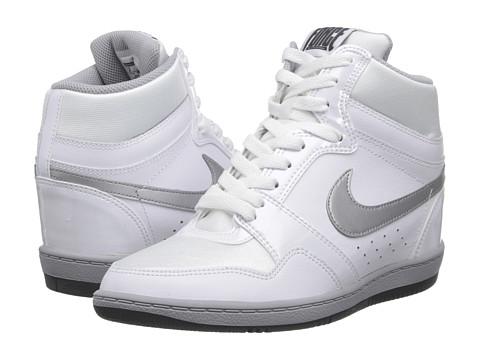 Nike - Force Sky High Sneaker Wedge (White/Metallic Silver/Dark Grey) Women's Shoes