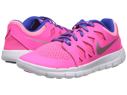 Nike Kids - Free 5 (Little Kid) (Hyper Pink/Game Royal/Deep Royal Blue/Metallic Silver) Girls Shoes