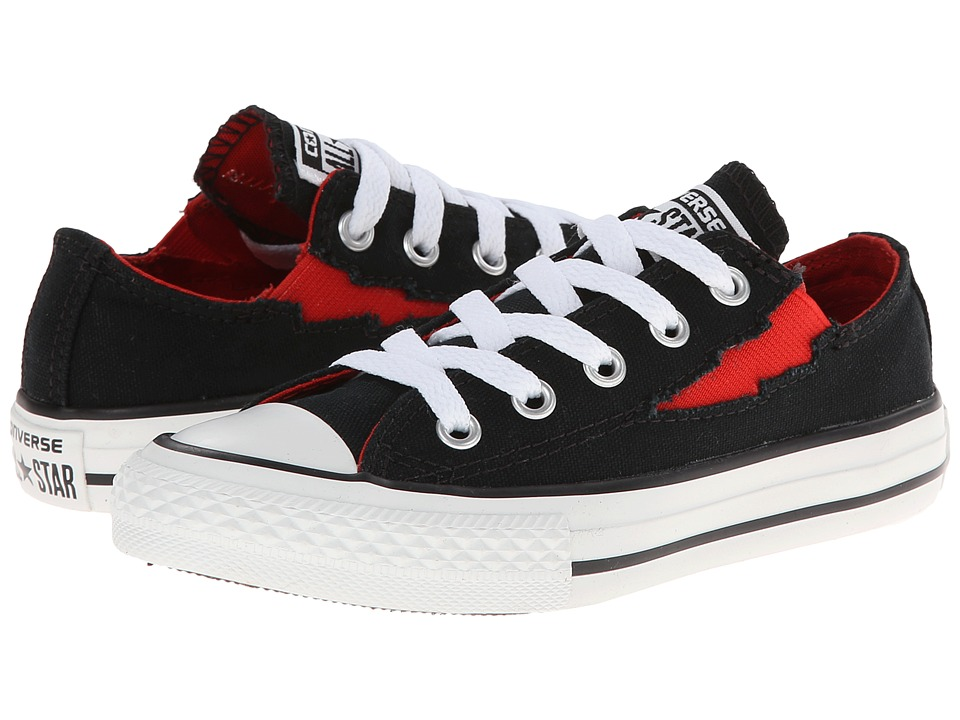 Converse Kids - Chuck Taylor All Star Boltz Ox (Little Kid/Big Kid) (Black/Fire Brick) Boys Shoes
