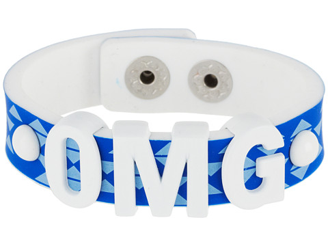 BCBGeneration - Printed Rubber Affirmation Bracelet (OMG/White/Radical Blue) Bracelet